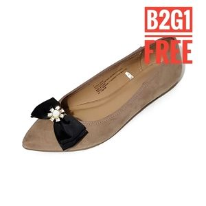 B2G1 Free Taupe pointed toe flats with black bow